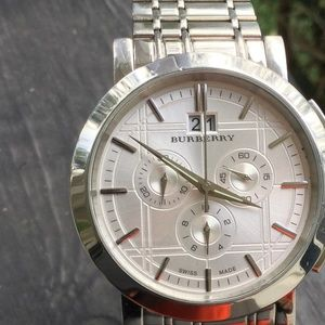 Burberry Silver Chronograph Gents Watch